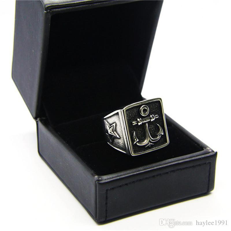 mais recente estrela anel de âncora de aço inoxidável 316L popular moda jóias motociclista homens meninos legal anel
