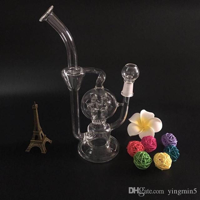 Reciclagem de vidro bongo tubo de óleo de vidro tubo de fumar tubo de água de vidro com cúpula e prego GB-253