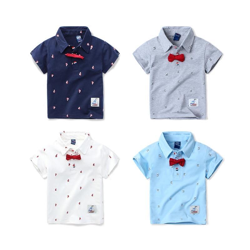 0ea0ecd8eb4 Compre 2018 Camiseta Polo Para Niños Con Pajarita Ropa Para Bebés Ropa De  Manga Corta De Algodón Para Niños