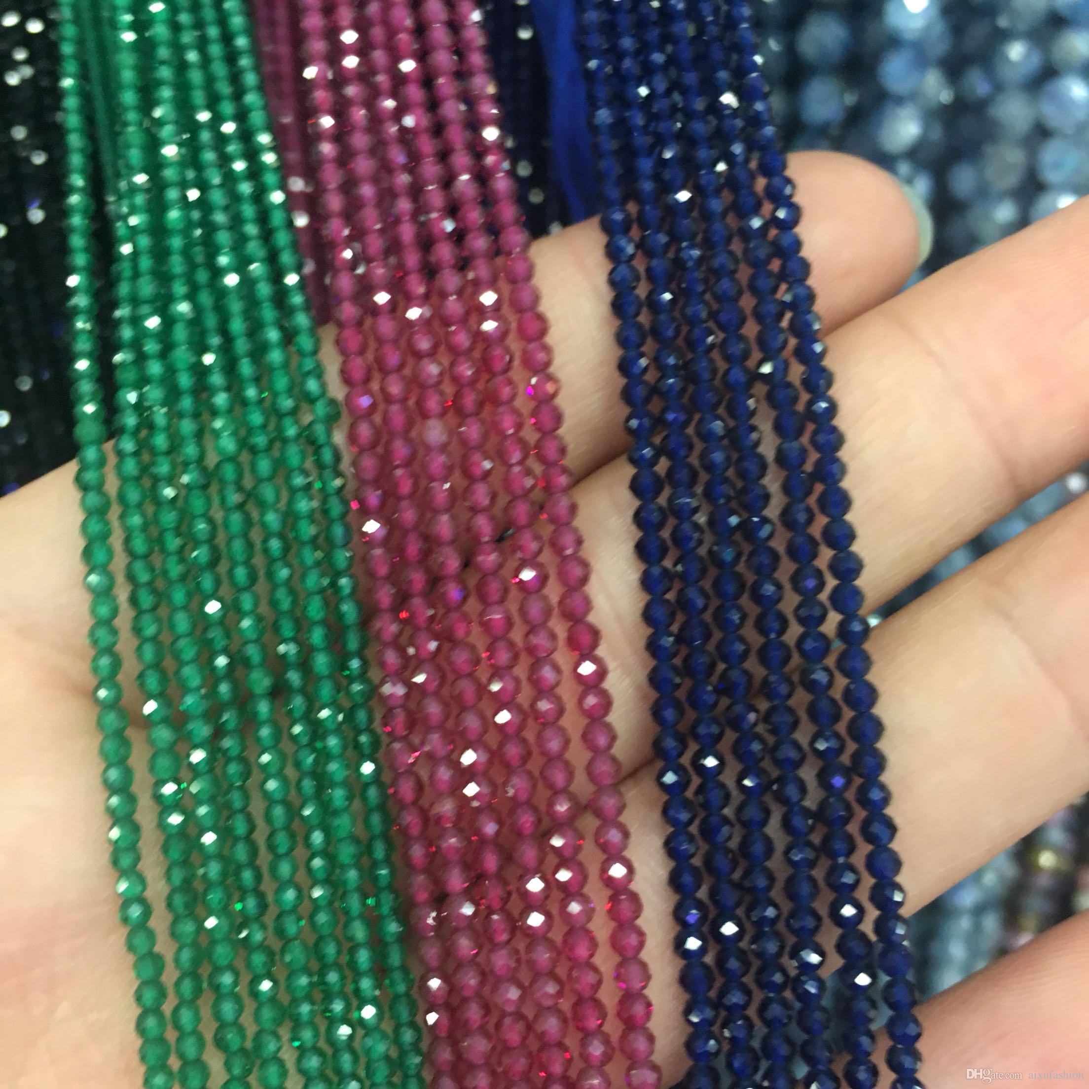 Facetada Natural Ruby Beads 2mm Esmeraldas De Safira Pedra Contas Vermelho Verde Azul Gem Stone Bead Para Pulseira Colar Strand 15 ''