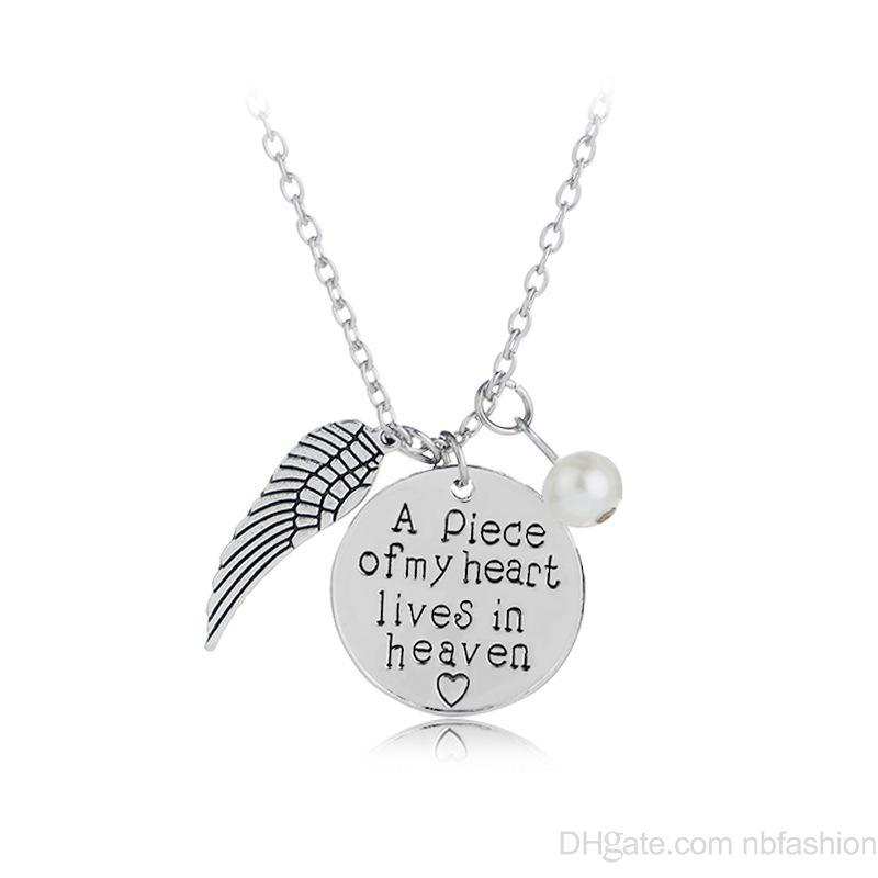 578e2a8e09524 'A piece of my heart lives in heaven' Personalized Handwriting Necklace  Remembrance Necklace Memory Angel Wing Jewelry