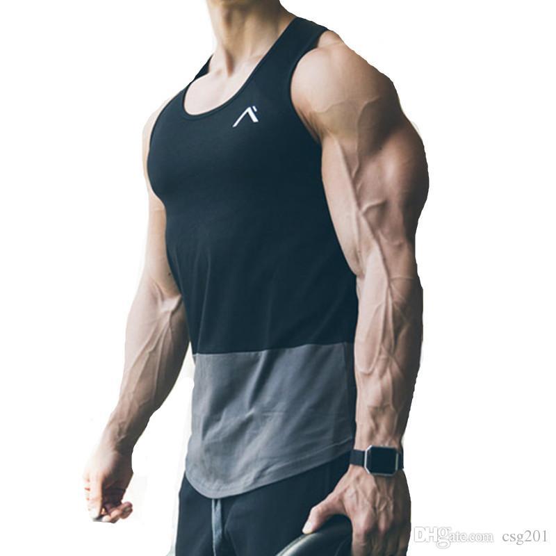 b0ec078c03 Großhandel Sommer Tank Tops Patchwork Männer Gym Sport Tanks Fitness T Shirt  Ärmellos Bodybuilding Kleidung Crossfit Tanktop Aktive Jogging Tank Top Von  ...