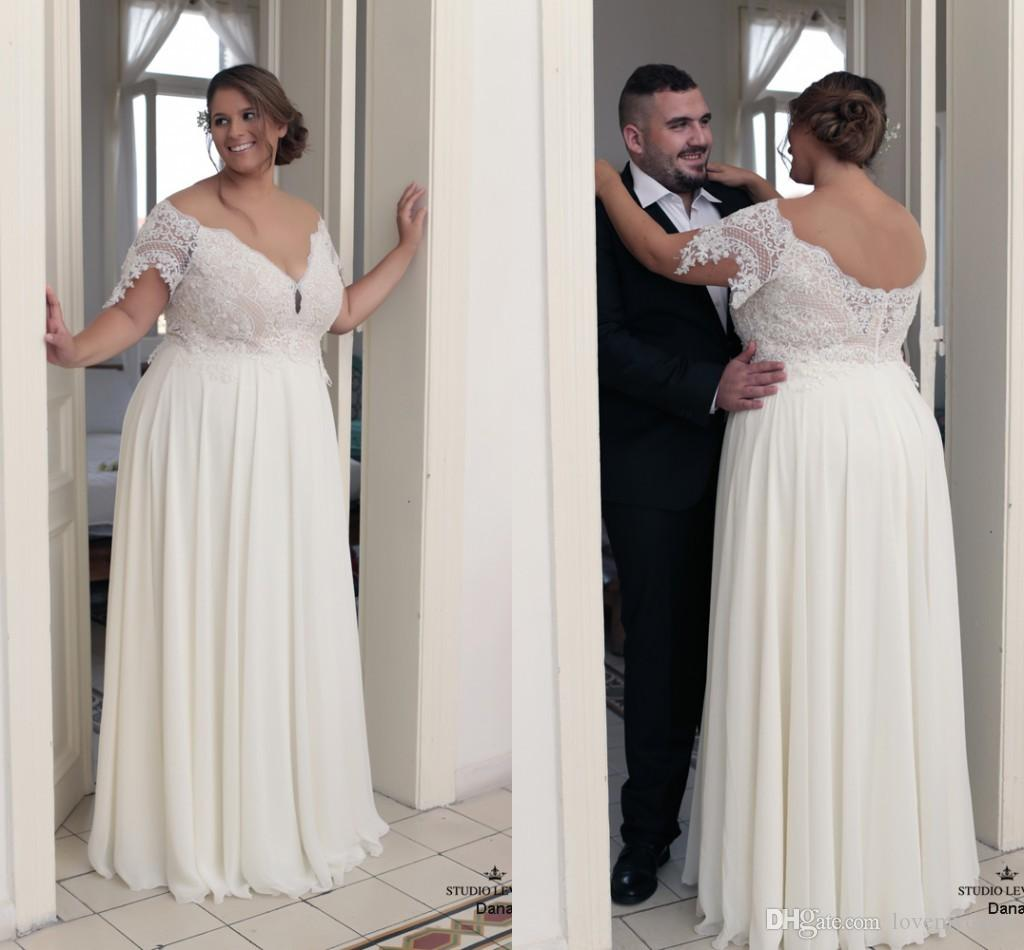 2018 Modest Off The Shoulder Lace Wedding Dresses Plus Size Cheap ...