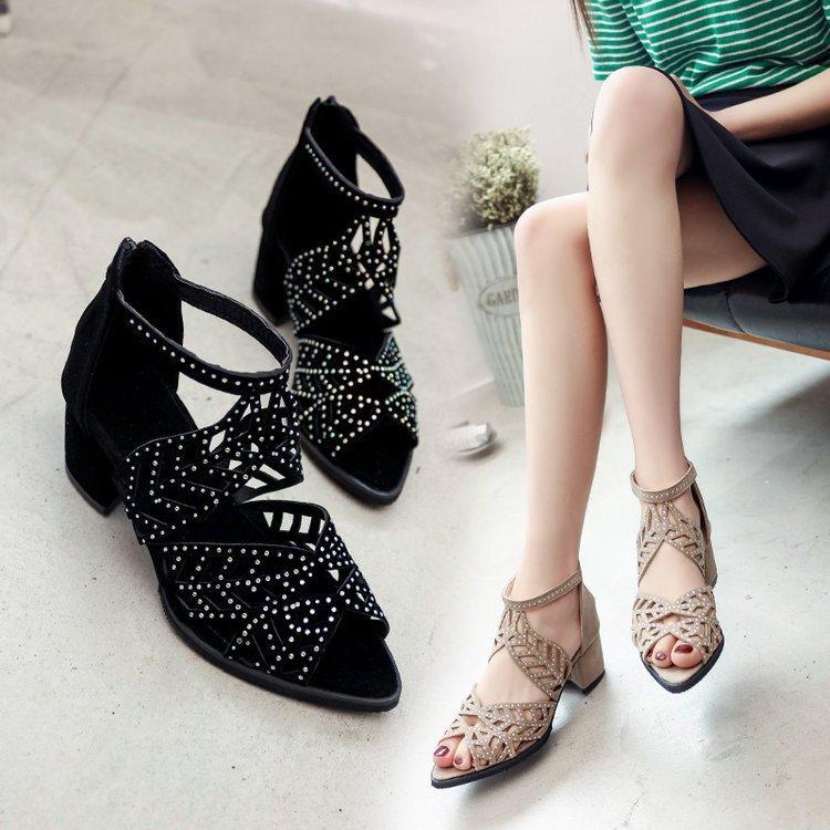 Compre Lwo Tacón Zapatos De Tacones Gruesos Mujer Cristal Bajo Alto Mujeres  Liangpian Fashioncrystal Zapatos Mujer Tacones Gruesos Fondo Grueso A   31.32 Del ... 39d14ac04c80