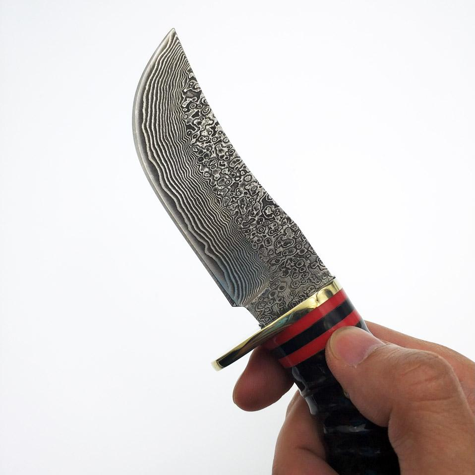 Swayboo Damascus Steel Wild Yellow Horn Handle Hunting Knife Fixed Blade Outdoor Camping Knives For Survival With Real Leather Sheath