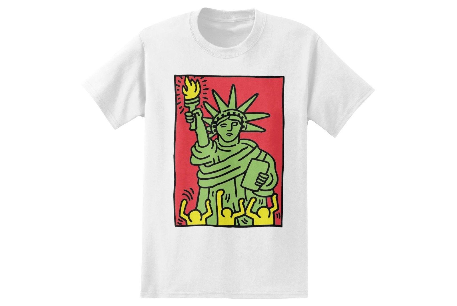 Keith Haring STATUE OF LIBERTY Pop Art T Shirt NWT 100% Authentic Rare Tee  S 2XL Really Funny T Shirts Funny Vintage T Shirts From Playfulltees 565c38b5d