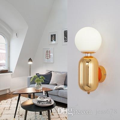Großhandel Moderne Led Wandleuchte Schwarz / Gold / Weiß Innenbeleuchtung  Für Restaurant Wohnzimmer Schlafzimmer Korridor Runde Glas Led Ball  Wandleuchten ...