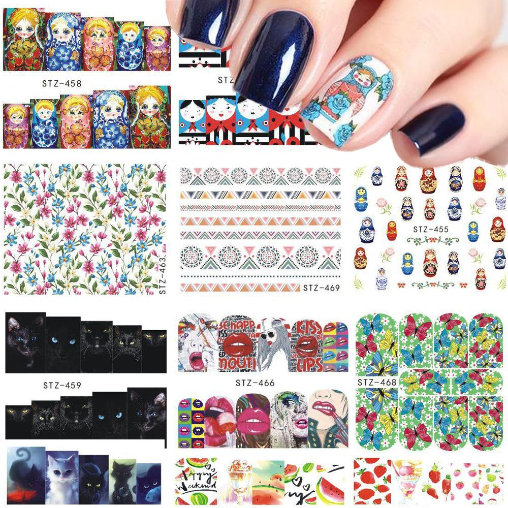 1 Sheets Nail Sticker Russian Doll/Cat/Flower/Fruit Water Transfer ...