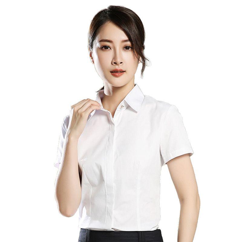 dfcc0462aa White Formal Shirt Women Autumn Fasional Slim Shirt V Neck Long Sleeve  Button-Down Office Ladies Tops Work Blouse Blusas