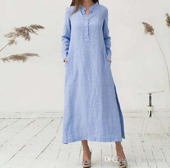 826137d7ad Creative Fashion Temperament Dress Casual Hem High Loose Retro Long Skirt  Stand Collar Long Sleeve Cotton Sexy Dress Shirt Dress Designer Dresses  Shirt ...