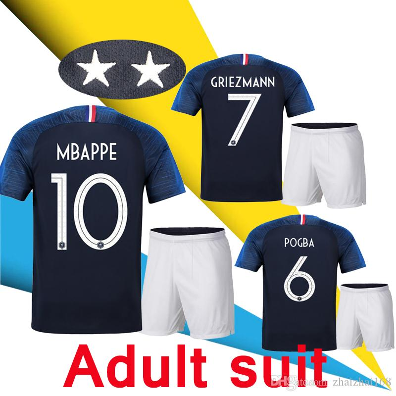 aeac345d6 2 Star 2018 World Cup Jersey GRIEZMANN MBAPPE POGBA Home Away Blue ...