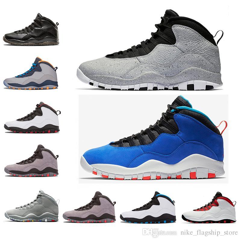 timeless design 0cb2f fe05c Acquista New Cement Air Retro 10 10s Jordan Mens Scarpe Da Basket Hot  Westbrook I m Back Bobcats Chicago Cool Grigio Powder Blue Steel Grigio Nero  Sportivo ...