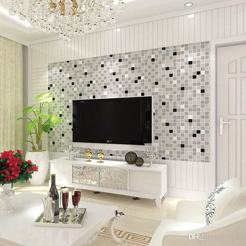 Personality Mosaic Living Room Background Wall 3 D Classic Mould Proof  Wallpaper 0.53m *9.5m±3% High Quality Wallpaper High Quality Wallpapers  From Hcsm, ...