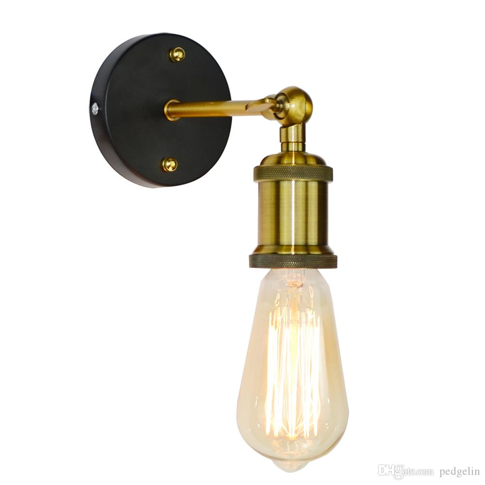 2019 vintage industrial wall sconce light metal home wall decor simple single swing wall lamp retro rustic light fixtures lighting ac90 260v e27 from