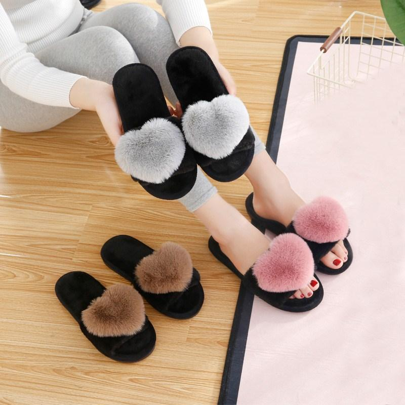 ba566a49ab7 Women House Slippers Winter Faux Fur Slippers Open Toe Cute Fashion Warm  Cozy Slip On Flats Female Slides Heart Girls Shoes Cheap Boots High Heel  Shoes From ...
