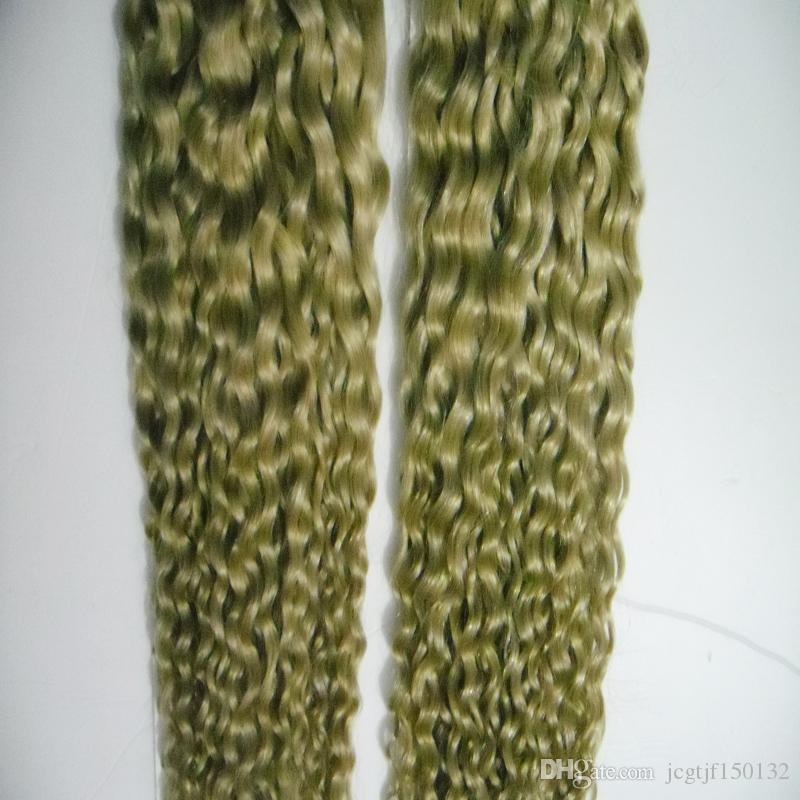 Blonde brazilian Hair Weave 4B 4C 200g curly Human Hair Extensions Non-Remy Hair Weaving Bundles Machine Double Weft 613 Blonde