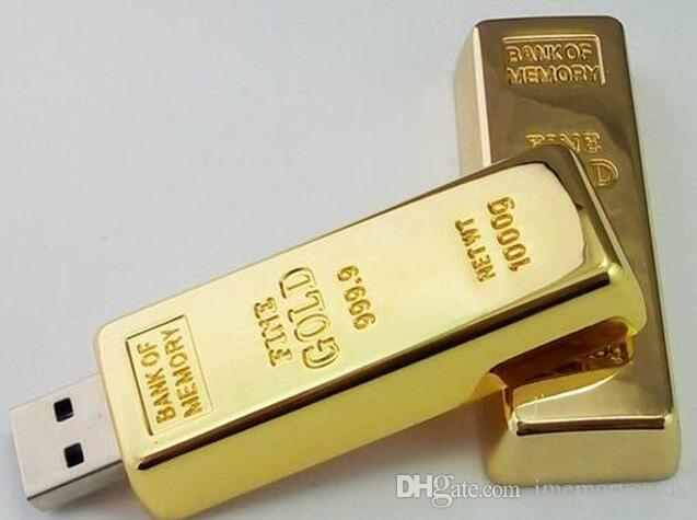DHL Epacket 100% Real Capacity Gold bar pen drive 16GB USB Flash Drive Memory Stick with OPP Packaging