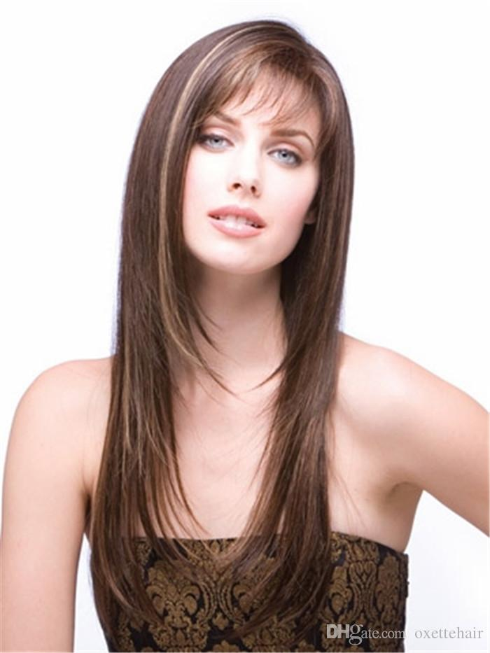 light brown layered straight hair wig with bang Heat resistant fiber synthetic wig capless fashion wig for women