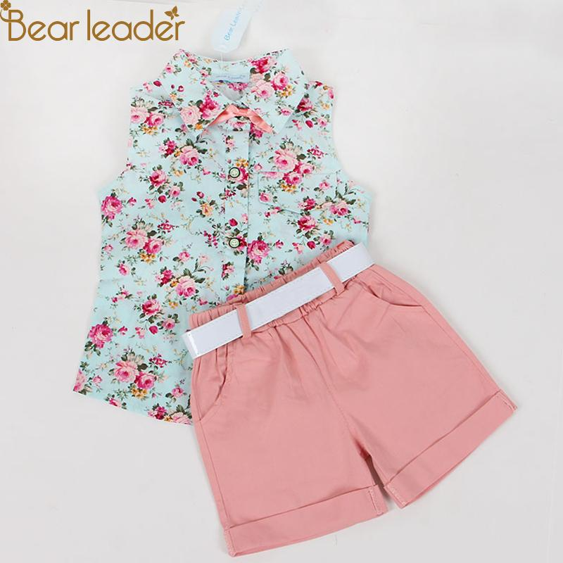f29a72457cc69e 2019 Bear Leader Kids Clothes 2018 Fashion Sleeveless Summer Style Baby  Girls Shirt +Shorts + Belt Suit Children Clothing Sets Y1891203 From  Shenping02