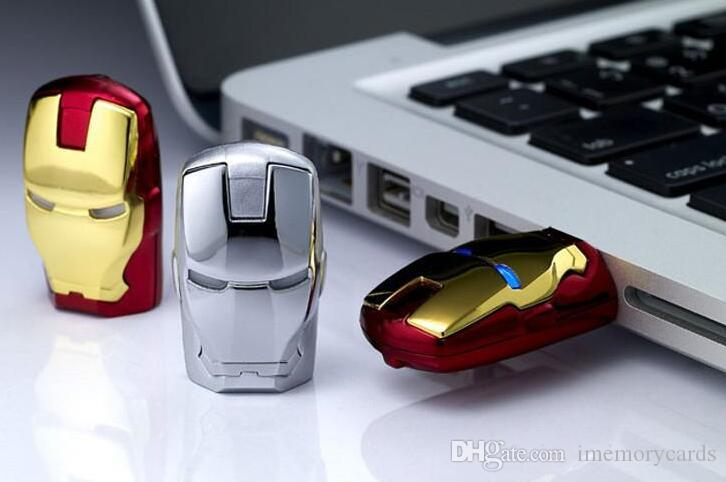 epacket/post LED iron man metal pen drive 64GB 128GB 256GB USB Flash Drive Memory Stick with OPP Packaging