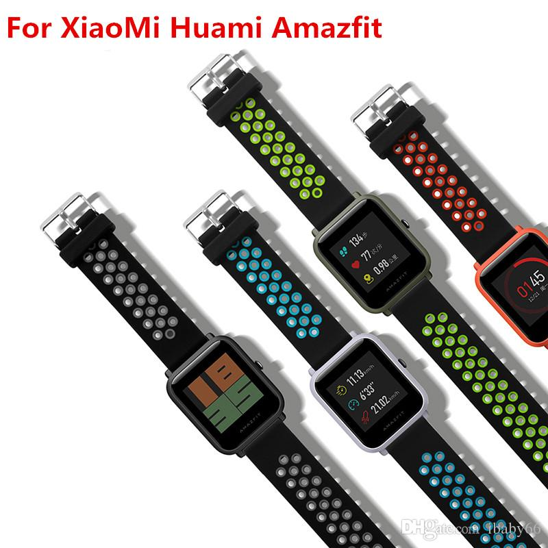 87d827e52aea Smart Accessories For Xiaomi Amazfit Bip Smart Watch 20mm Youth Sport  Smartwatch Wrist Band Strap Silicone Double Color Watch With Leather Strap  Wrist Watch ...