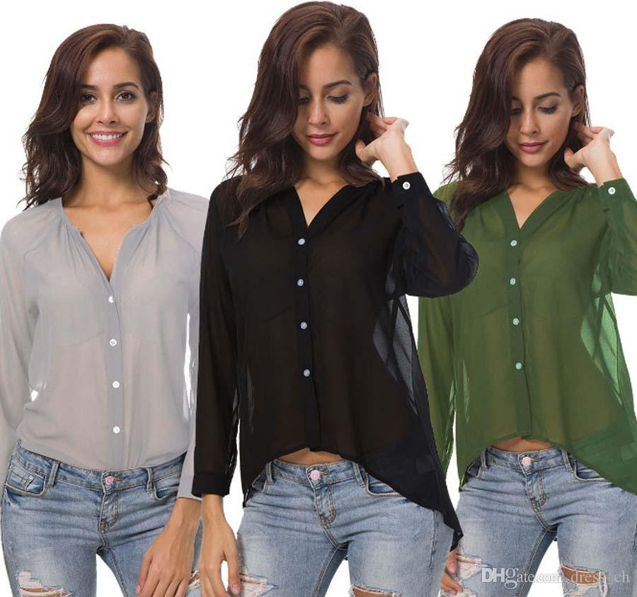 3842d789a7 S-5XL Plus Size Women Sexy Casual Spring Long Sleeve Chiffon Loose ...