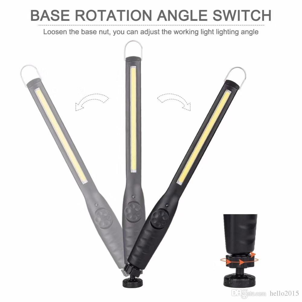 Multifunction USB Rechargeable COB LED Work Inspection Flashlight Magnetic Hook Hanging Torch Lantern For Car Repairing Camping