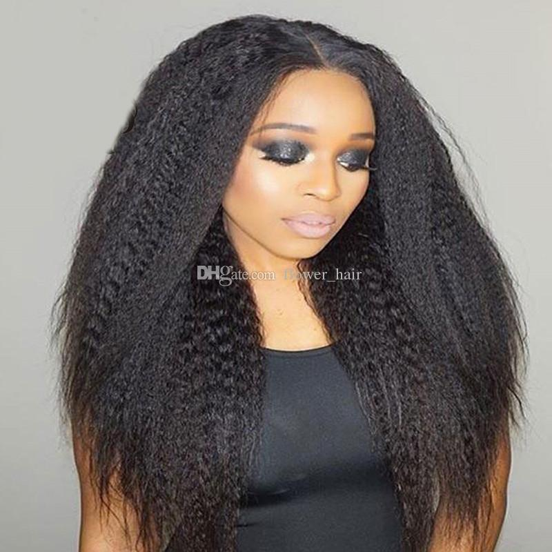 Middle Part Kinky Straight Full Lace Wig Unprocessed Human Hair Lace Front Wigs 8A Brazilian Coarse Yaki Wigs Black Women With Baby Hair