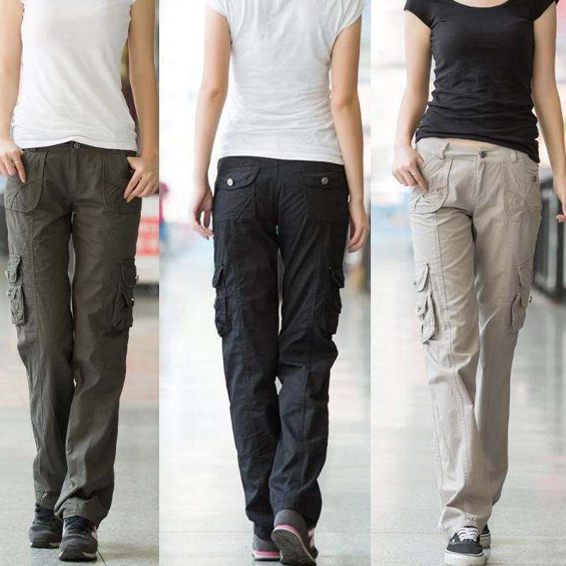 5efb65e9ed569d Acquista Pantalon Femme 2019 Autunno Donne Pantaloni Jeans Diritta  Allentata Pantaloni Signore Ragazze Allenamento Pantaloni Cargo Multitasche  Pantaloni ...