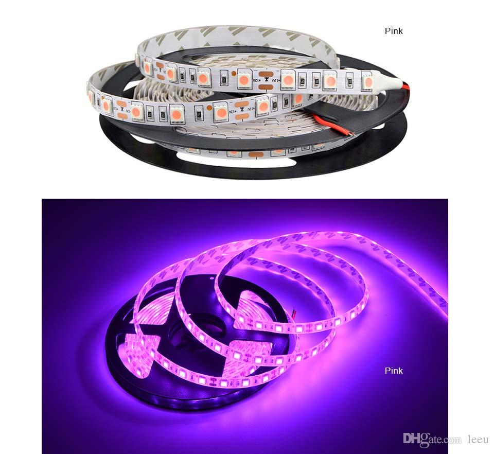 방수 5050 SMD LED 스트립 라이트 5M 12V 장식 LED 문자열 램프 60LED / M RGB, RGBW, RGBWW, 노란색, 분홍색, 파랑, 녹색, 레드 11 색