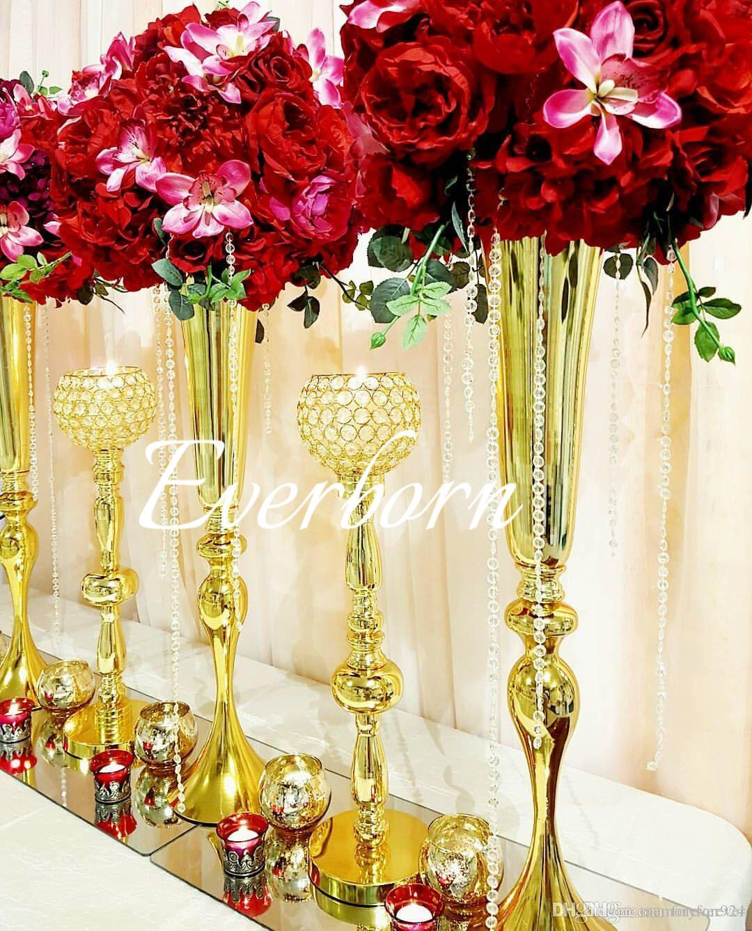 2019 88cm Tall Slim Metal Flower Vase  Trumpet Vases Centerpieces For Wedding Decor Home Decoration Wedding Flower Stand Wholesale From Memoryforever ... & 2019 88cm Tall Slim Metal Flower Vase  Trumpet Vases Centerpieces ...