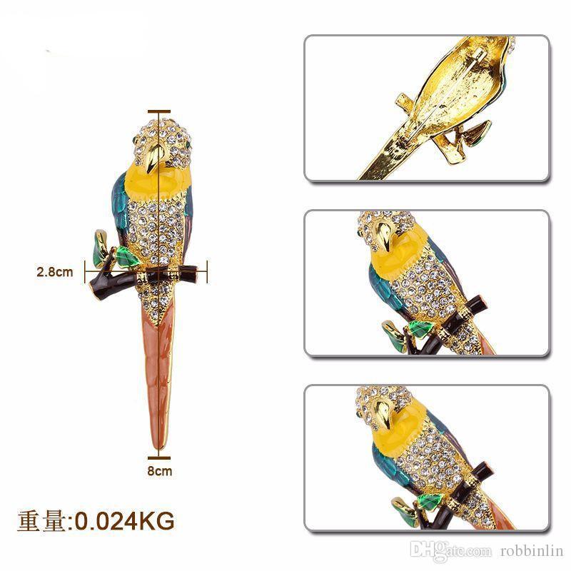Fashion Bird Opal Crystal Alloy Women Brooch Pin Rhinestone Jewelry Animal Brooch Pendant Necklace for Daily Party &Wedding