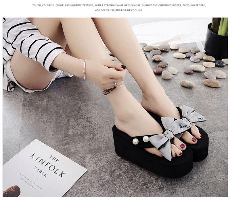 2018 New Shoes Donna Estate Infradito tacco alto incunea Pantofole donna signore diapositive Designer scarpe piattaforma terlik