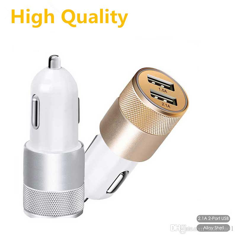 Metal head Car Phone Charger 2 Port Mini Dual USB Car Charger Adapter Quick Charging 5V 2A for iPhone Samsung Xiaomi LG Car-charger