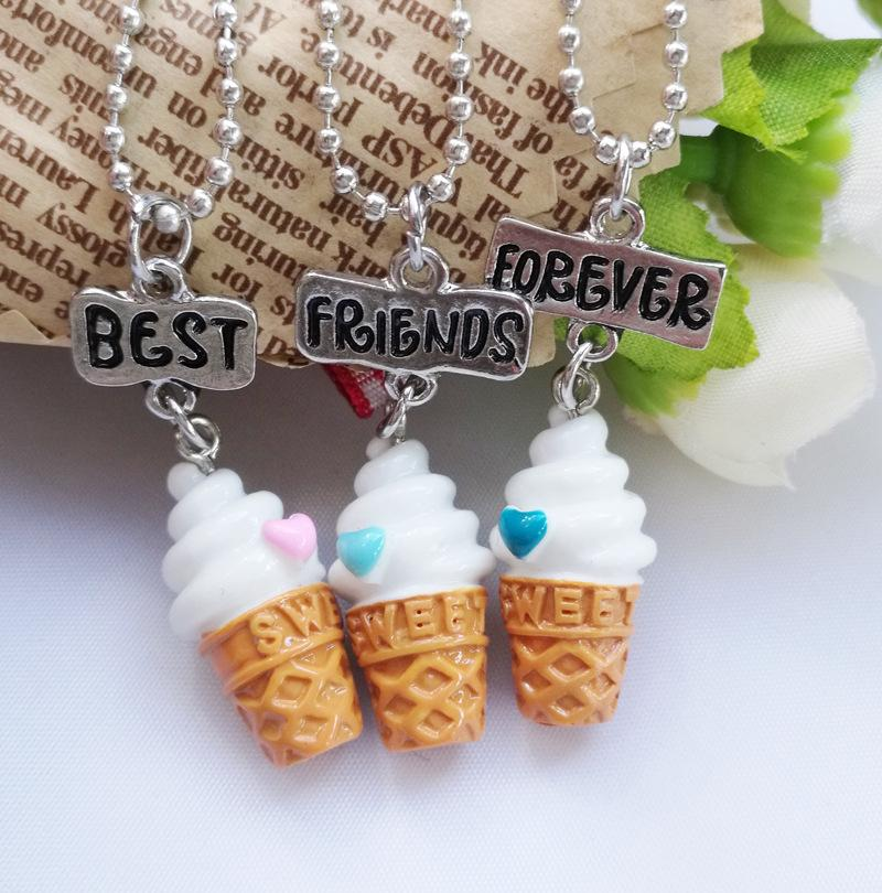 Kids Friendship Ice Cream Stereo Imitation BFF Necklace For Children Best Friends Forever Jewelry
