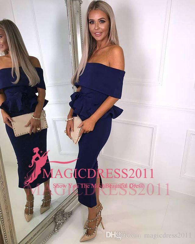 Hot Prom Dresses Schulterfrei Rüschen Tee Länge Satin Elegantes Cocktailkleid Party Abendkleider Nach Maß Königsblau Weiß