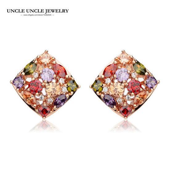 947fd64a Lujo Multicolor Pendientes Oro Rosa Color Cubic Zirconia Cuadrado Mujer  Pendiente Regalo al por mayor