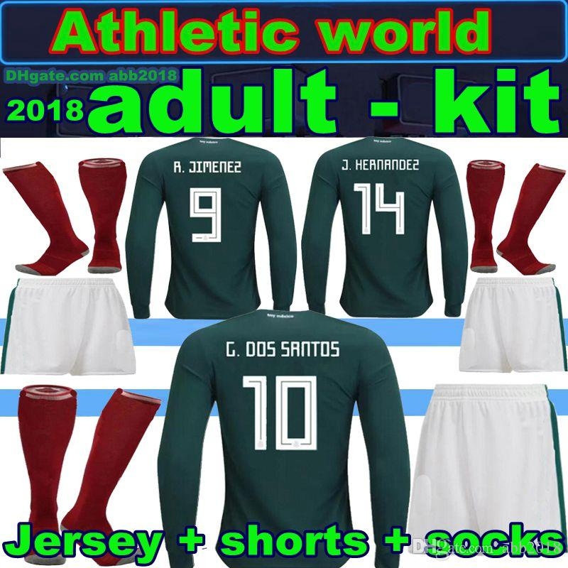 6e13ab576bd ... coupon code for 2018 new mexico kit long sleeves soccer jersey  chicharito g.dos santos