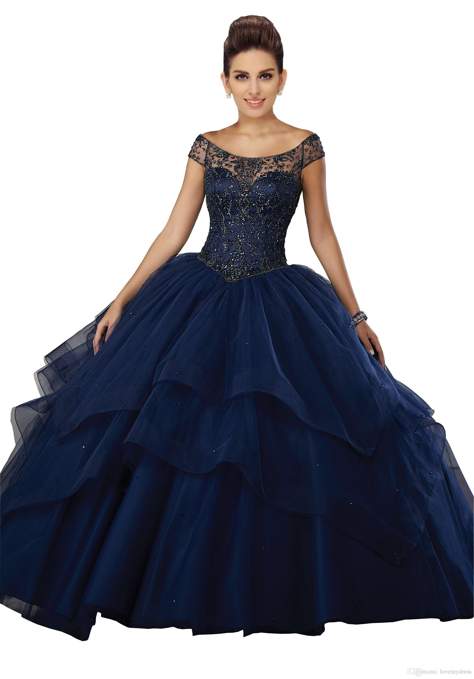 193fcf2a356 Stunning Navy Blue Sweet 16 Ball Gown Dresses Quinceanera Prom Dress Jewel  Sheer Neck With Sleeves Bling Beaded Tulle Ruched Layers Party Canada 2019  From ...