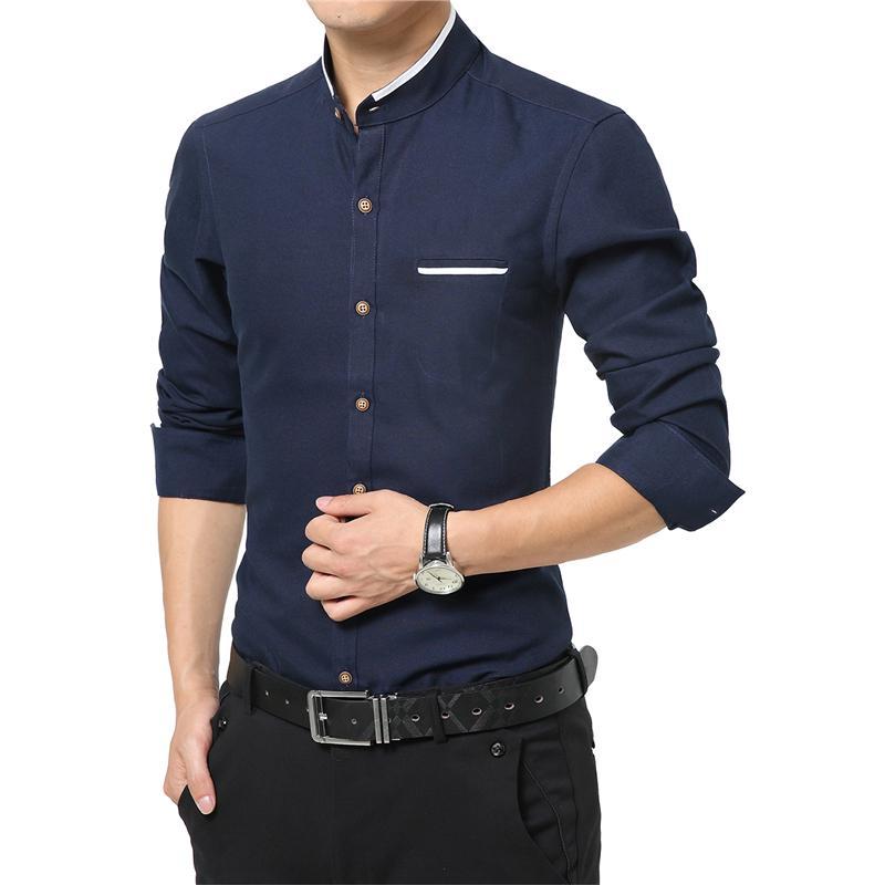 e15113f8dfed 2019 New Fashion Casual Men Shirt Long Sleeve Mandarin Collar Slim Fit  Shirt Men Korean Business Mens Dress Shirts Men Clothes M 5XLY1882203 From  Zhengrui06 ...