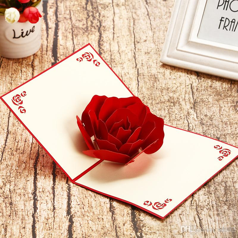 Rose 3D Pop Up Greeting Card Carve ValentineS Day Gift Lovers Tanabata Festival Romantic Couple Birthday Wedding Invitation Cards 5 8hp Bb UK 2019 From