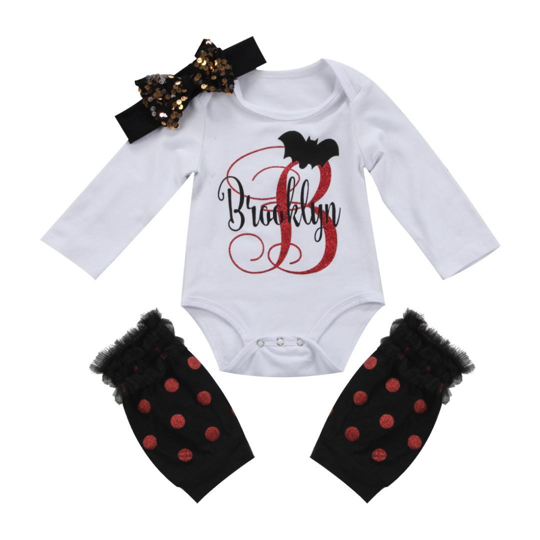Halloween Infant Baby Girl Outfit Set Fashion Cotton Short Sleeve Bodysuit Stocks Headband 3 Piece Outfits Sets Clothes