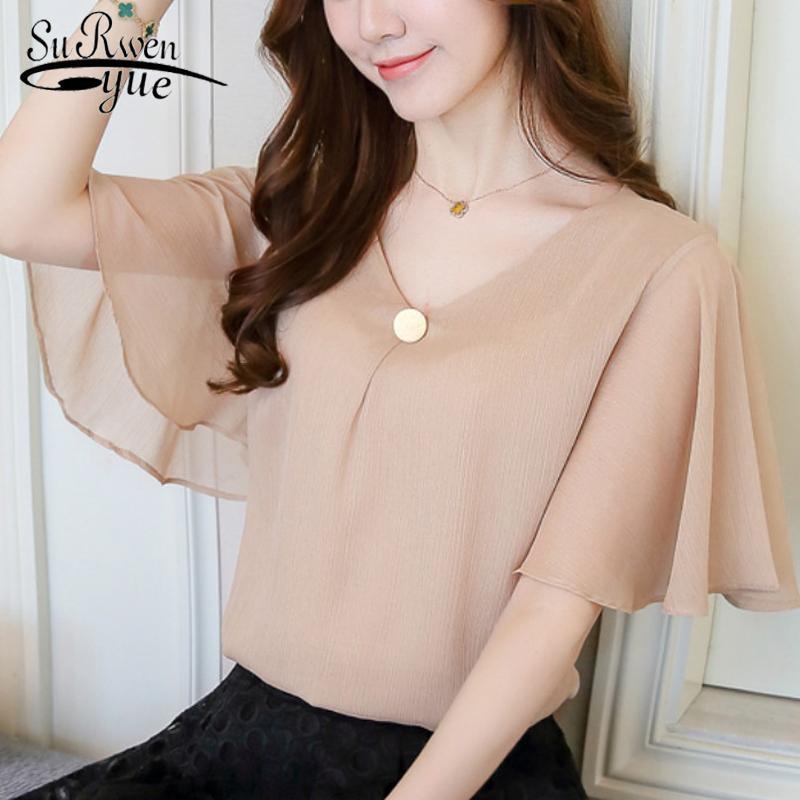 Großhandel 2018 Mode Plus Größe 4xl Chiffon Frauen Bluse Shirts Tops Khaki  Kurzarm V Ausschnitt Damenbekleidung Blusen Blusas D644 30 Von Cailey, ... 69eb9b26dc