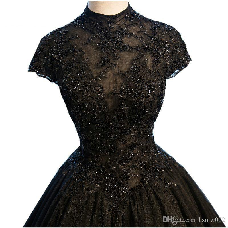 진짜 사진 검은 볼 가운 이브닝 드레스 긴 하이 넥 짧은 소매 구슬 장식 Tulle 이브닝 가운 Vestido De Festa Robe De Soiree