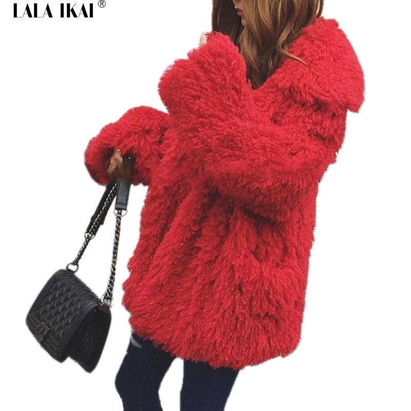 0b23002342 Inverno caldo ricci Outwear Ladies Cappotto di pelliccia finta Capelli  lunghi Cappotti pelosi Donne Oversize Faux Fur Wool Open Stitch Femmine ...
