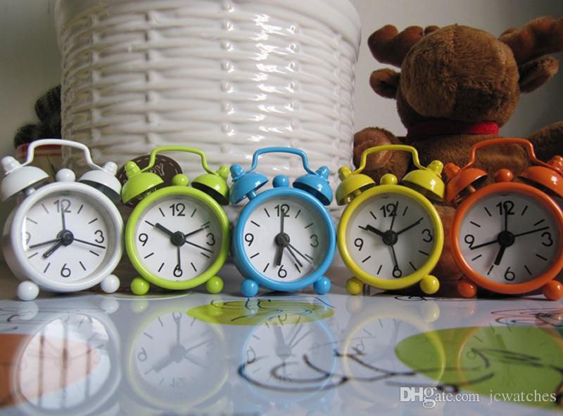 Portable Cute Mini Round Battery Alarm Clock Desktop Table Bedside Clocks Home DecoratioN