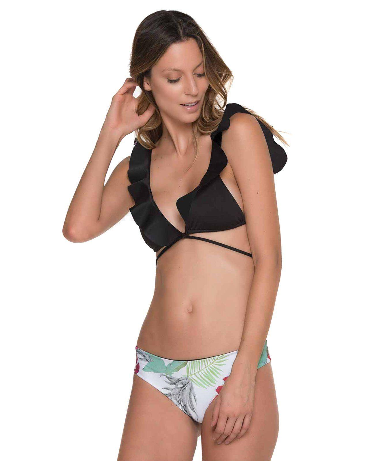 1e14a4092 Compre Womens Negro Blanco Con Volantes Wraparound Bikini Trajes De Dos  Piezas Estampado Floral Cintura Baja Traje De Baño Traje De Baño 2018 A  $14.88 Del ...