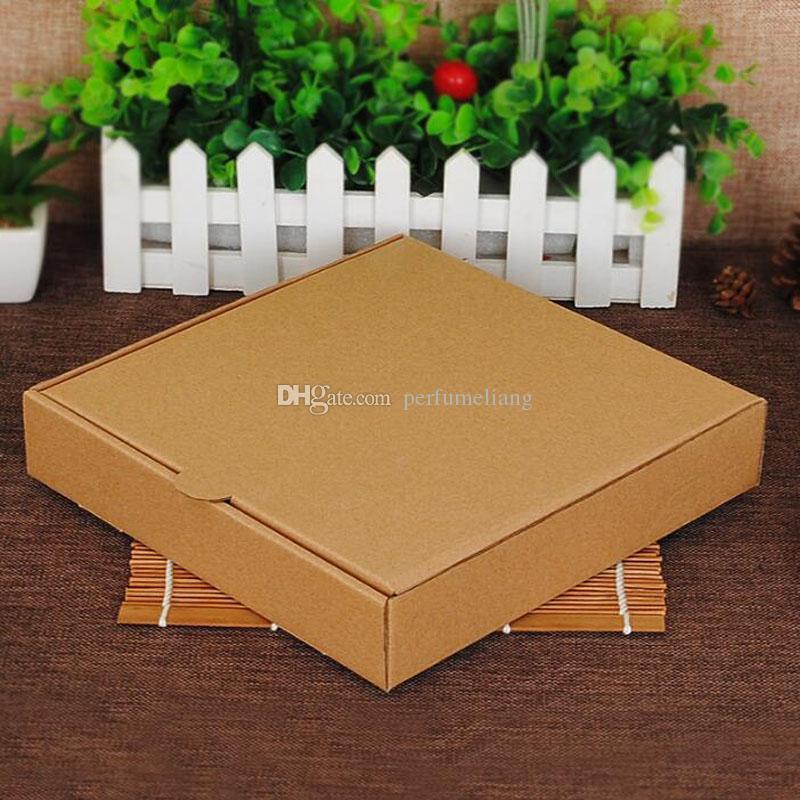 Caja de pizza Kraft de 9 pulgadas en blanco Sin caja de empaque de alimentos para la fiesta de impresión Puede logotipo personalizado 24 * 24 * 4.5 cm QW7202