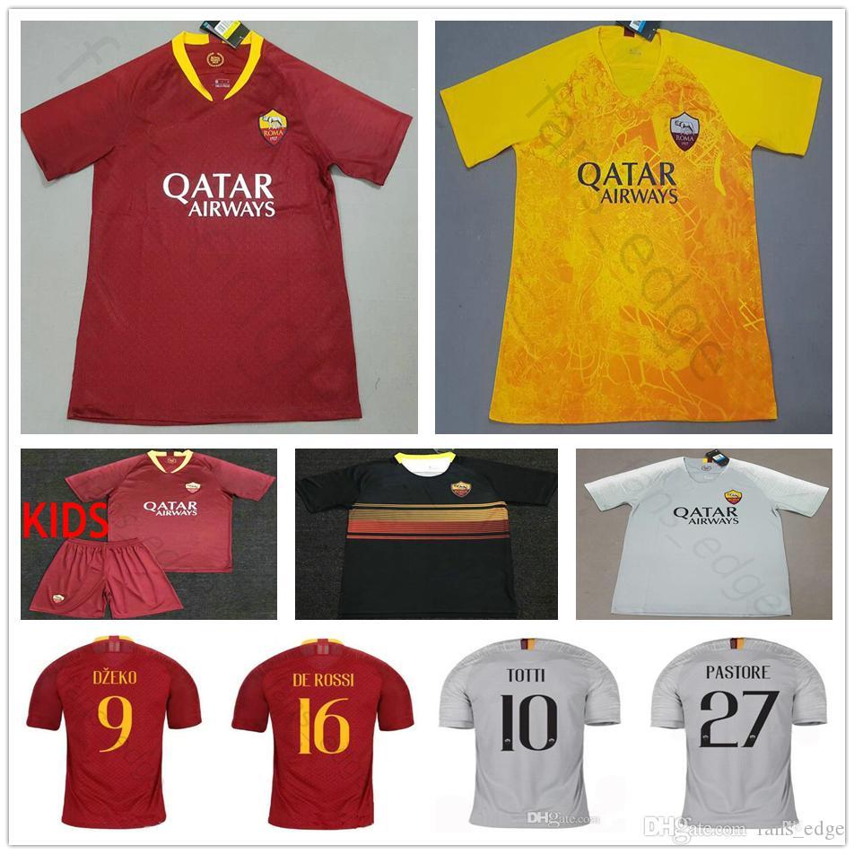 0c5616b0d63 2019 AS Roma Soccer Jersey NAINGGOLAN TOTTI 9 DZEKO 8 PEROTTI 16 DE ROSSI  92 EL SHAARAWY Custom Home Away Men Kids Football Shirt From Chen shop