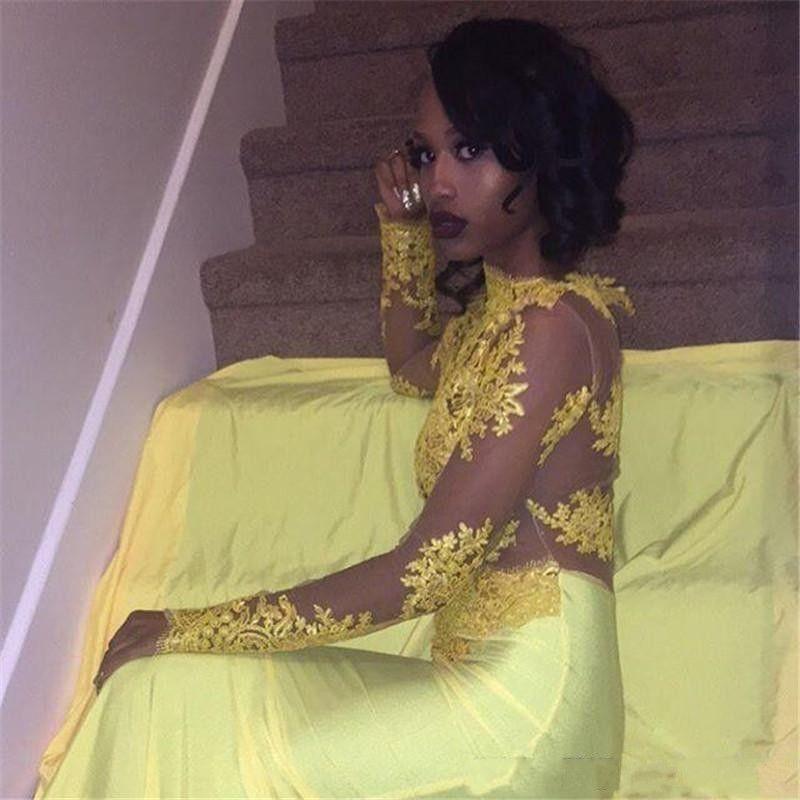 2018 Vestidos de baile amarillos Cuello alto Apliques de encaje Mangas largas Sheer Volver espalda Sirena Tul Vestidos africanos Vestido de noche Vestidos de fiesta